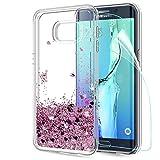 LeYi Custodia Galaxy S6 Edge Plus Glitter Cover con HD Pellicola,Brillantini Trasparente Silicone Gel Liquido Sabbie Mobili Bumper TPU Case per Samsung Galaxy S6 Edge Plus Donna ZX Rosa Rose Gold