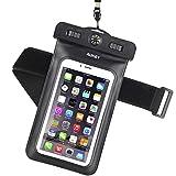 AUKEY Custodia Impermeabile Universale per Telefono Cellulare con Bussola e Fascia Sportiva da Braccio, Waterproof Cover per iPhone 7/ 7 Plus/ 6s / 6s plus / 6 / 6 plus / 5s / 5c / 5, Samsung s6 / s6 edge / s5 / s4, ed Smartphone Uguale o Inferiore a 6' ecc