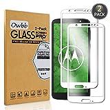 Owbb [2 Pezzi] Bianco Vetro Temperato Pellicola Per Motorola Moto G6 Plus Full Coverage Protettiva Protezione 9H Durezza 99% Alta Trasparente