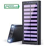 Gnceei Power Bank 24000mAh Caricabatterie Portatile Solare Powerbank, 5.8A 4 Porte USB Batteria Esterna con 3 Porte di Entrata(USB C & Micro USB) e 2 Bright LED per Nexus, HTC e Altro Smartphone ...