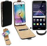 TOP SET per Huawei P8 Lite 2017 Dual SIM Custodia protettiva nero 360 ° smartphone copertura cassa di protezione Slim Flipstyle cover pelle artificiale per Huawei P8 Lite 2017 Dual SIM + + anello di protezione - K-S-Trade(R)