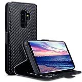 Custodia Samsung S9 Plus, Terrapin Cover di Pelle con Funzione di Appoggio Posteriore per Samsung Galaxy S9 Plus Custodia Pelle, Colore: Nero Fibra Di Carbonio Schema