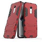 Cover Xiaomi Redmi 5 Plus, Custodia bella resistente GOGME [Tough Armor Series] Robusto TPU / PC Armadio ibrido doppio strato,pannello posteriore PC antigraffio + Paraurti antiurto TPU+pratico cavalletto,Custodia Cover Xiaomi Redmi 5 Plus.rosso