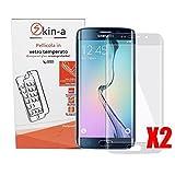 [X2 Pack] skin-a Pellicola Protettiva in Vetro Temperato 3D per Samsung Galaxy S6 Edge Plus (Totalmente Trasparente Curva) NO GLITTER SM-G9280
