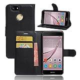 Huawei P10 Plus Custodia - IVSO Lussuosa PU Cover Custodia Protettiva Portafoglio da Mano per Huawei P10 Plus Smartphone (Nero)