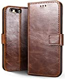 SLEO Custodia Huawei P10 Plus, Cover Huawei P10 Plus Semplice Wallet, 3-Scheda Slot,, Huawei P10 Plus Custodia- caffè