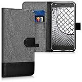 kwmobile Custodia portafoglio per Motorola Moto Z2 Play - Cover in simil pelle a libro Flip Case con porta carte funzione appoggio grigio nero