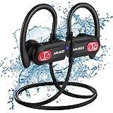 Cuffie Bluetooth, IPX7 Impermeabile Auricolari Wireless Stereo (sostegno HSP, HFP, A2DP, AVRCP) Qualit¨¤ CD Qudio Cuffie Sport per Palestra, Con Microfono, Custodia per il Trasporto, 10 Ore di Gioco