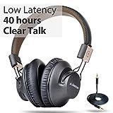 Avantree 40 Ore di autonomia Cuffie Senza Fili Ripiegabili Over Ear Bluetooth 4.1 con Microfono, APTX a Bassa LATENZA, Sistema Audio per TV, PC, con NFC, modalità utilizzo con Filo - Audition PRO