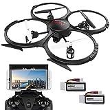 DBPOWER FPV - Drone con telecamera, Wi-Fi Live Video, 4 canali, 6 assi, RTF, Quadricottero RC con modalità senza testa, mantenimento dell'altitudine, volo di tracciamento, 360 gradi, per principianti e bambini, bianco
