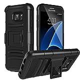 MoKo Compatibile con Galaxy S7 Case - Holster Cover con Supporto Integrato e Clip e Custodia Protettiva Rigida per Galaxy S7 Smartphone 2016 Release, Nero