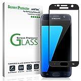 amFilm Galaxy S7 Vetro Temperato Pellicola Protettiva, Copertura Totale Protezione Schermo per Samsung Galaxy S7 (Nero)
