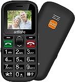 Artfone Senior - Telefono cellulare per anziani con tasti grandi, schermo da 1,77 pollici, facile da usare, per anziani con pulsante SOS e fotocamera, colore: nero
