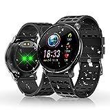 Orologi intelligenti, HOLALEI Bluetooth Smartwatch IP68 Impermeabile Bracciali Fitness Tracker Cardiofrequenzimetro da Polso Pedometro per iOS Android iPhone (Nero)