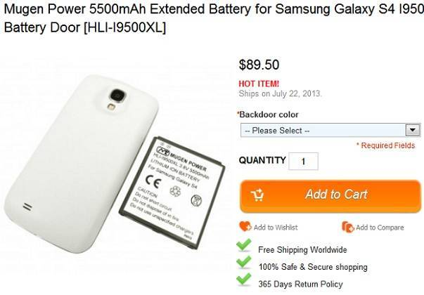 Samsung Galaxy S4, arriva una batteria da 5.550mAh