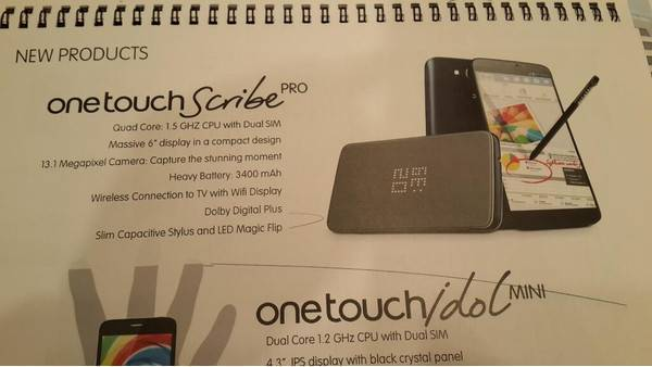 Alcatel One Touch Scribe Pro: 6 pollici e CPU quad-core a 225€