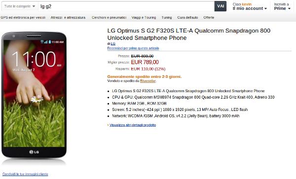 """LG G2 già disponibile in Italia su Amazon.it a """"soli"""" 789€"""