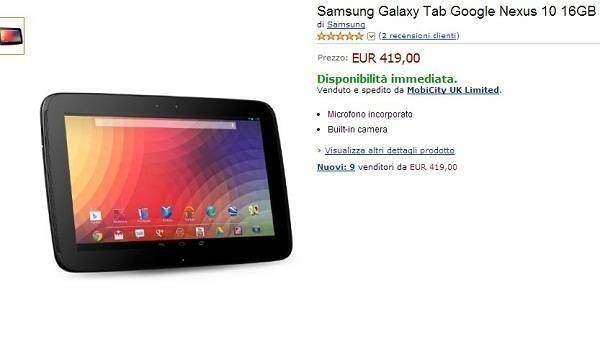 Samsung Nexus 10 arriva in Italia a 419€ su Amazon.it!