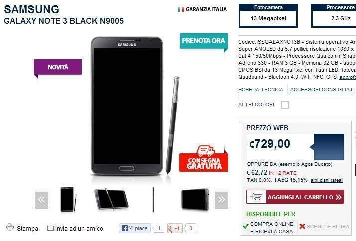 Samsung Galaxy Note 3: arriva in pre-ordine da Unieuro a 729€ e anche su ebay, ma a 650€!