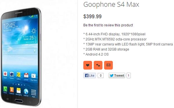 Goophone S4 Max, il clone cinese del Galaxy S4