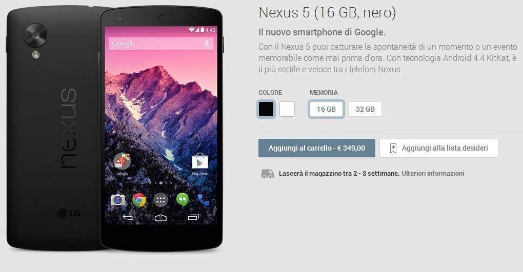 Nexus 5: già terminato in Italia! Sarà disponibile nuovamente tra 2/3 settimane!