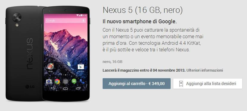 nexus 5 ita