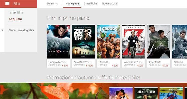 Google Play Movies disponibile in Italia