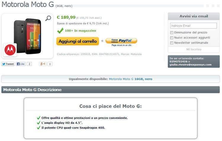 Motorola Moto G: disponibile per l'acquisto su Expansys!