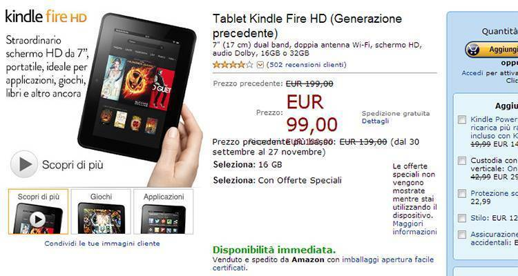 Kindle Fire HD e Kindle in offerta speciale su Amazon!