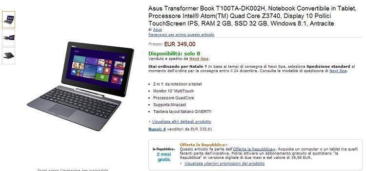 ASUS Transformer Book T100: finalmente disponibile su Amazon.it!