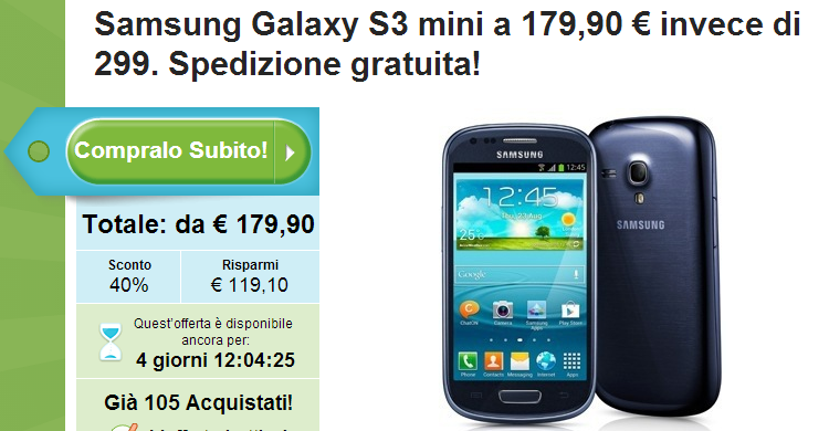 Galaxy S3 Mini: grandi offerte nei siti di coupon!