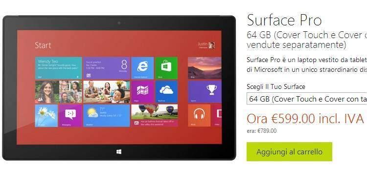 Microsoft taglia il prezzo dei Surface Pro: 200 euro in meno!