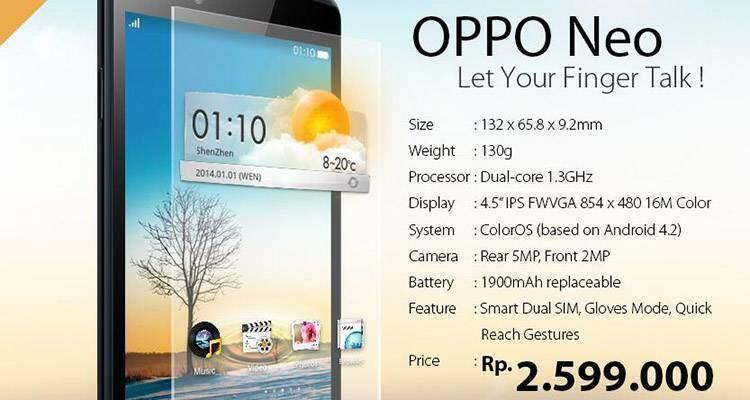 Oppo Neo, lo smartphone Android che funziona con i guanti