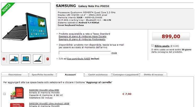 Samsung Galaxy Note Pro 12.1: arriva da Mediaworld a ben 899€!