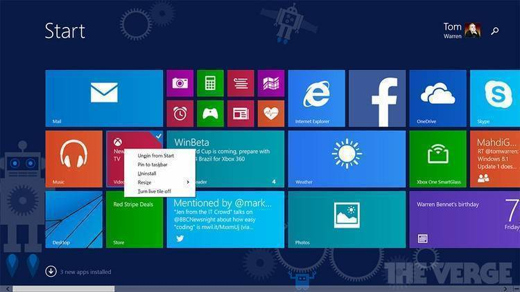 Windows 8.1 Update 1 Start Screen