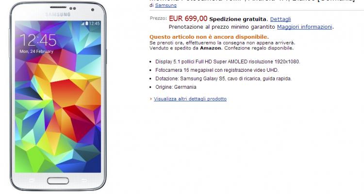 Il pre-ordine di Amazon.it del Galaxy S5