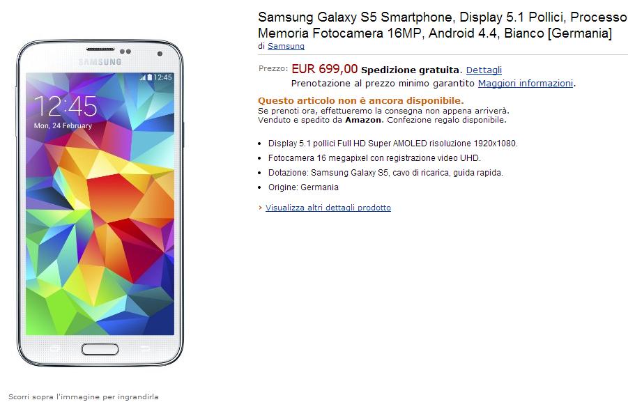 Samsung Galaxy S5: disponibile in Italia in pre-ordine a 699€!