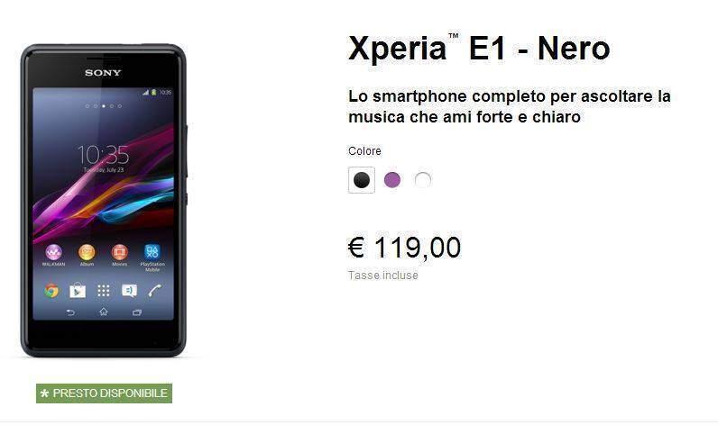 Sony Xperia E1: smartphone economico dual-core in arrivo a 119€!