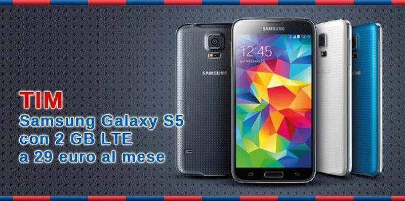 Galaxy S5 con 2 GB di internet a 29 euro al mese grazie a TIM