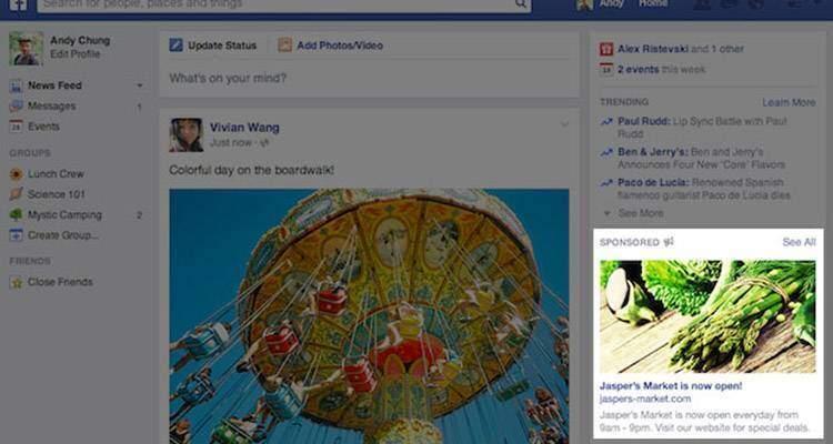 Facebook, meno annunci pubblicitari ma più grandi
