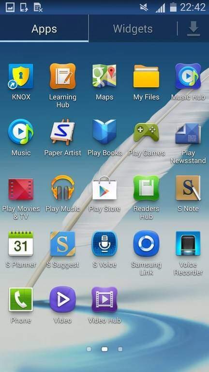 Galaxy Note 2 KitKat Menu