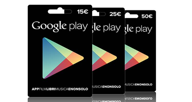 Google Play, carte regalo disponibili in Italia