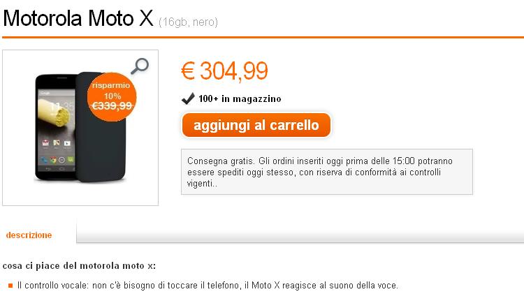 Motorola Moto X in offerta: prezzo più basso da Orange a 304€