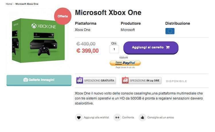 Xbox One a 399€ da consoleplanet
