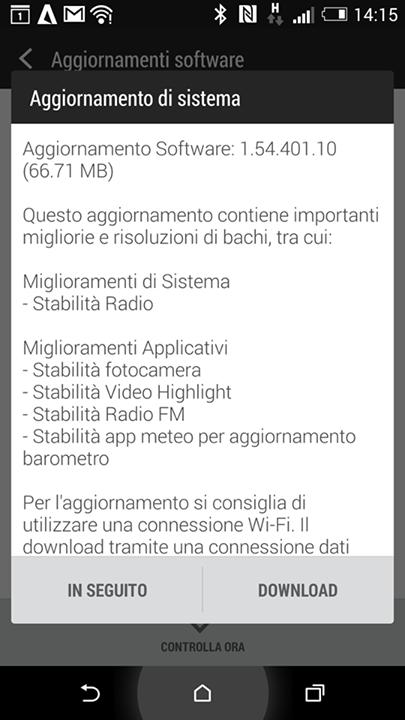 htc one m8 aggiornamento