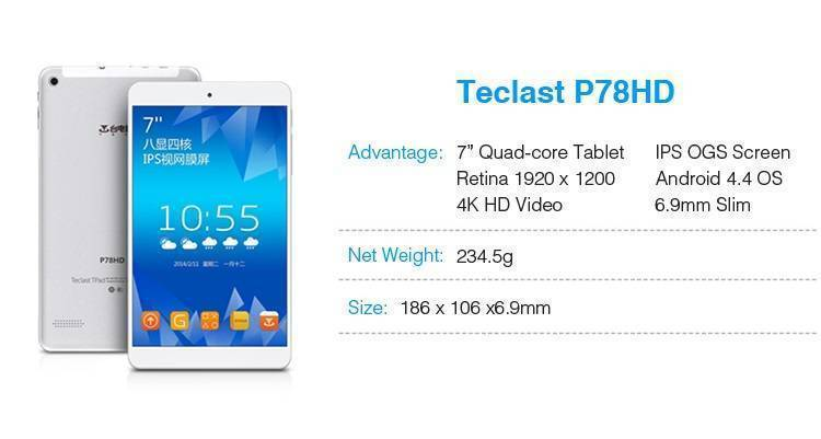 Teclast P78HD, tablet Quad-Core e display 7 pollici a 100$