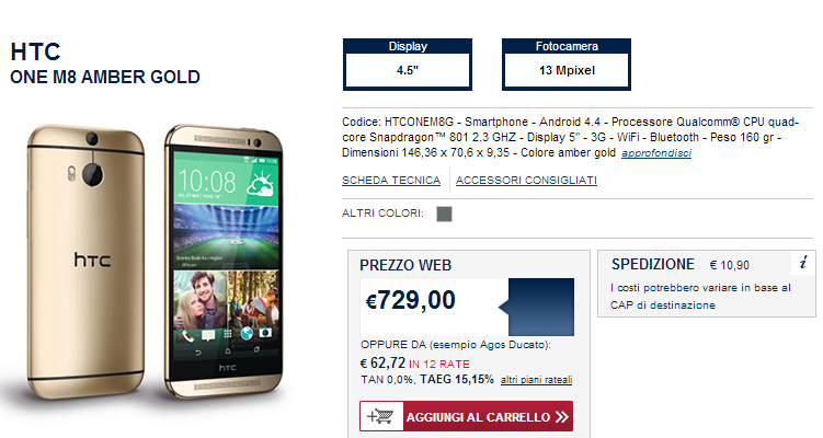 HTC One M8 Amber Gold, esclusiva Italia con Unieuro e Marcopolo