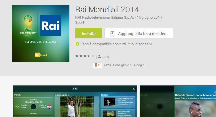Rai Mondiali 2014: le partite in diretta sul tuo smartphone!