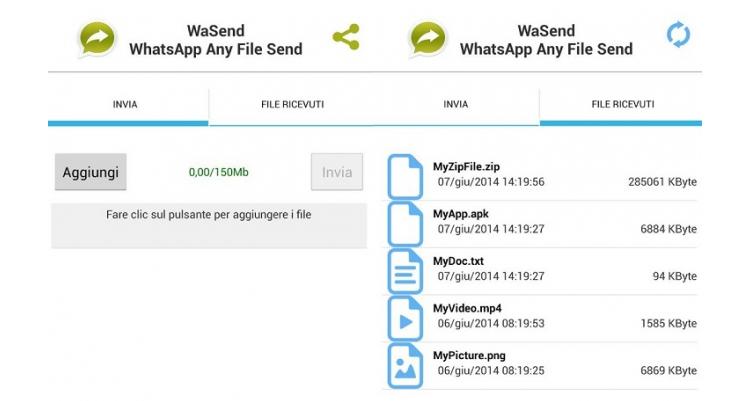 WaSend, l'app che ti fa inviare file da 150MB su WhatsApp