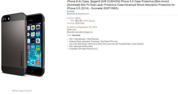 iPhone 6 Air mostrato per la prima volta su Amazon.it dal produttore di cover Spigen
